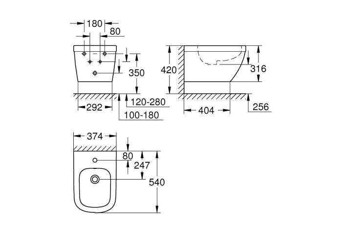 Grohe Euro Ceramic Биде настенного монтажа (39208000)