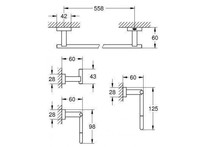 Grohe Essentials Cube Набор аксессуаров 4 в 1 (40778001)