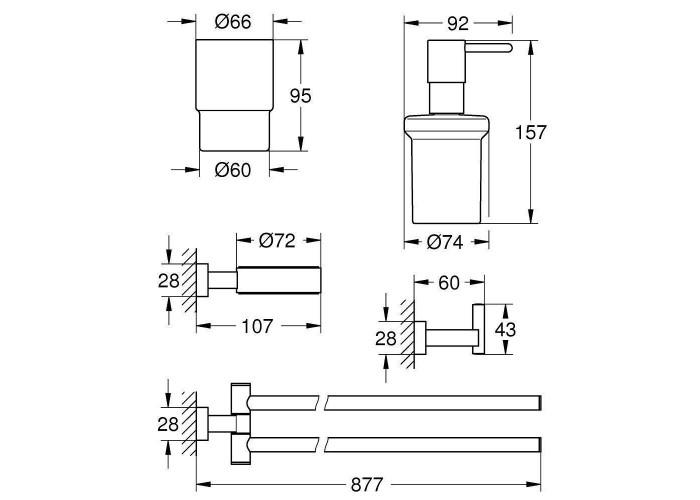 Grohe Essentials Cube Набор аксессуаров 4 в 1 (40847001)