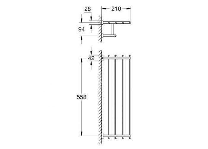 Grohe Essentials Cube Полка для полотенец с дополнительной горизонтальной штангой, 600 мм (40512001)