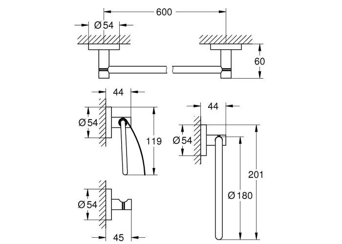 Grohe Essentials Набор аксессуаров 4 в 1 (40776001)