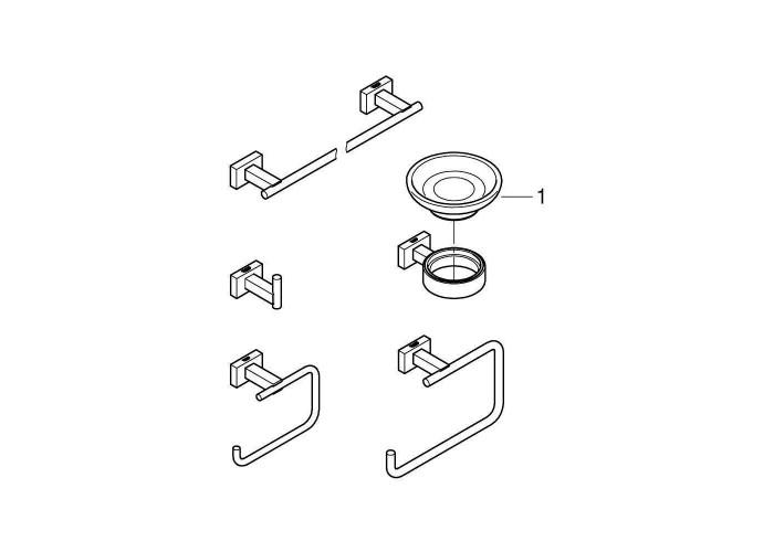 Grohe Essentials Cube Набор аксессуаров 5 в 1 (40758001)