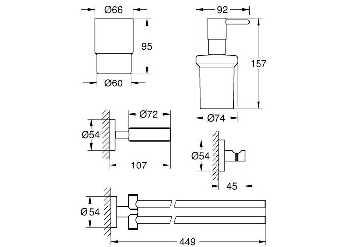 Grohe Essentials Набор аксессуаров 4 в 1 (40846001)