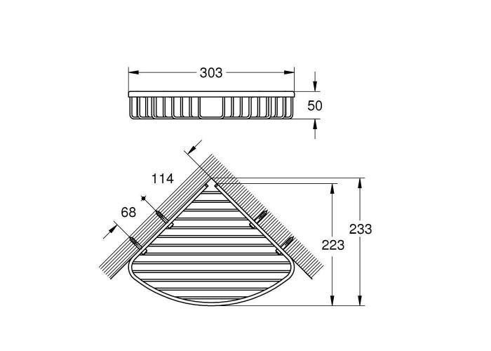 Grohe BauCosmopolitan Полочка-решетка угловая, большая (40663001)
