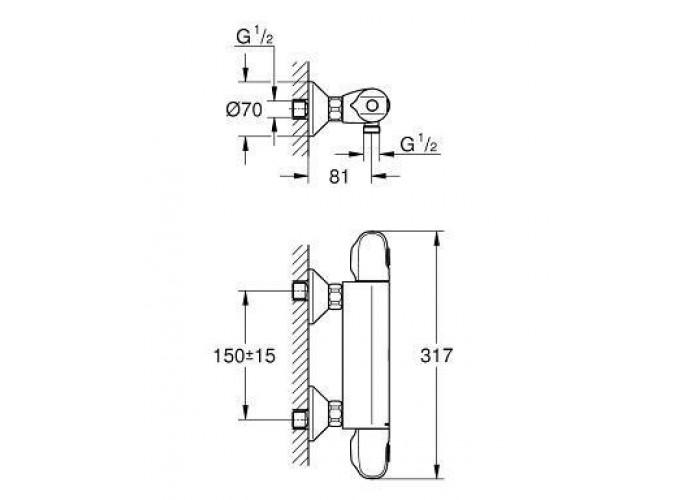 Grohe Grohtherm 1000 Термостат для душа быстросьемный (34550000)