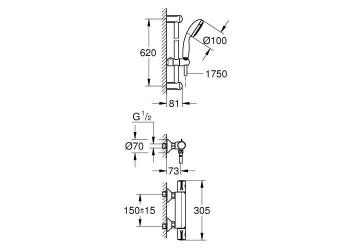 Grohe Grohtherm 800 Термостат для душа с душевым гарнитуром (34565001)