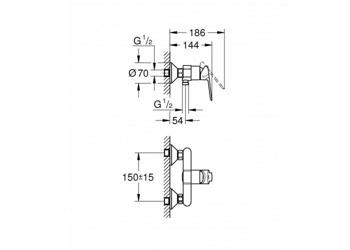 Grohe BauEdge Однорычажный смеситель для душа (23636000)