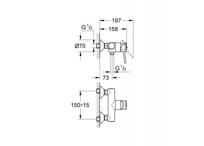 Grohe BauClassic Смеситель однорычажный для душа (32867000)