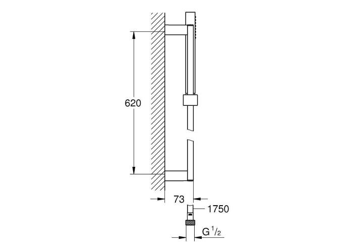 Grohe Euphoria Cube Душевой гарнитур, 1 режим струи, 600 мм (27936000)