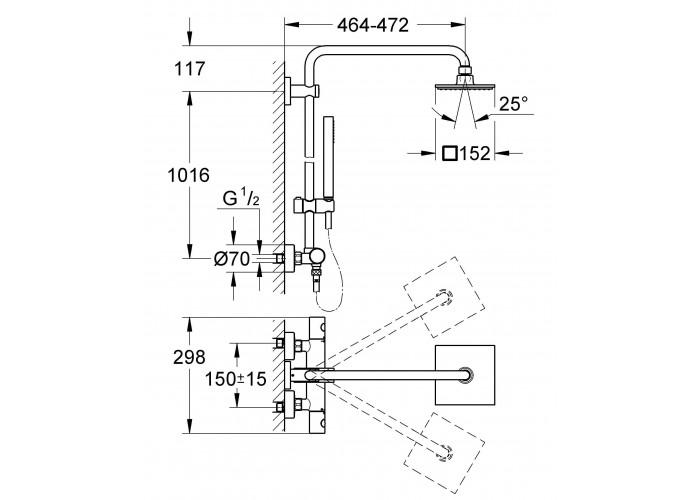 Grohe Euphoria System 150 Душевая система с термостатом для настенного монтажа (27932000)