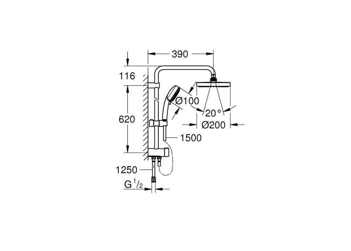 Grohe New Tempesta System 200 Душевая система Flex с переключателем для настенного монтажа (27389002)