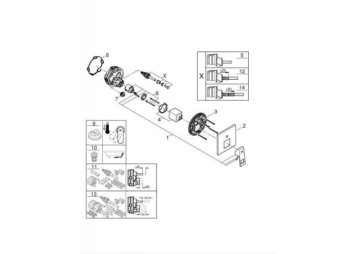 Grohe Eurocube Набор для комплектации душа Rainshower Mono 310 Cube (2406200L)