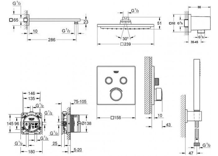 Grohe Grohtherm SmartControl Непревзойденная душевая система с Rainshower Allure 230 (34506SC0)