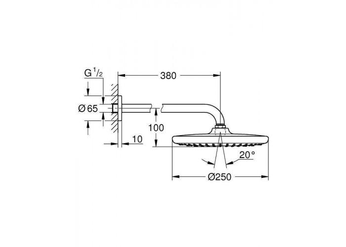 Grohe Grohtherm SmartControl Набор для комплектации душа с Tempesta 250 (26416SC1)
