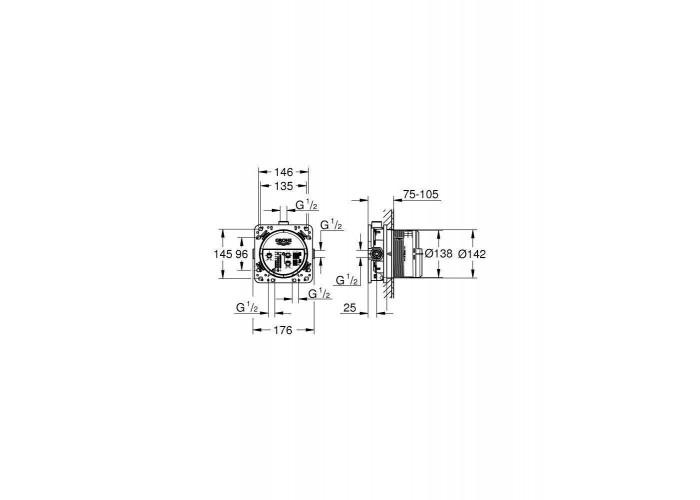 Grohe Eurocube Набор для комплектации душа с Tempesta Cube 250 (26415SC3)