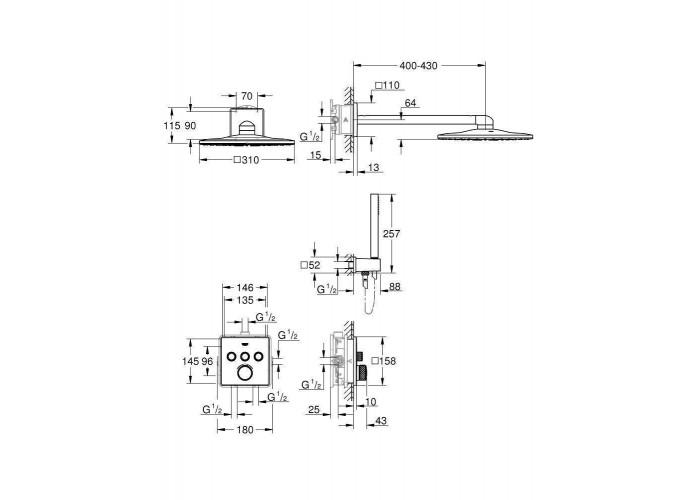 Grohe Grohtherm SmartControl душевая система Rainshower 310 SmartActive Cube (34804000)