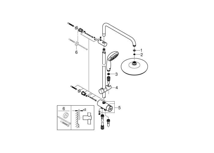 Grohe New Tempesta System 210 Душевая система Flex с переключателем для настенного монтажа (26381001)