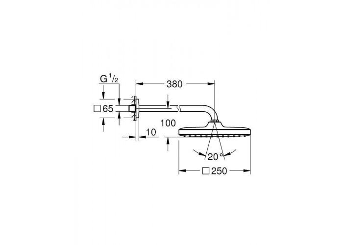 Grohe Grohtherm SmartControl Набор для комплектации душа с Tempesta Cube 250 (26415SC1)