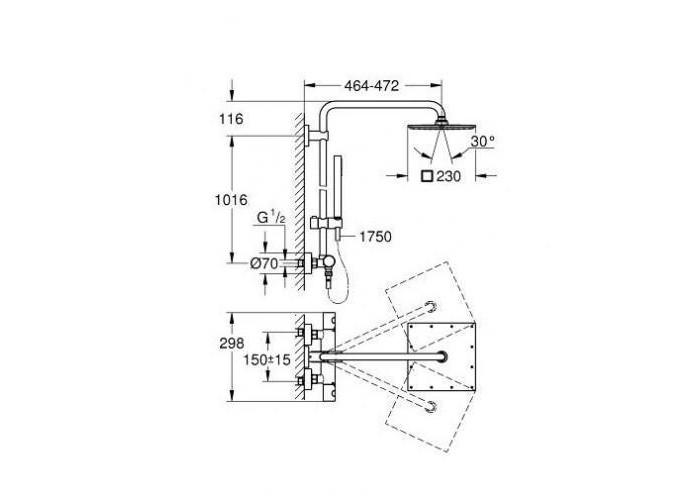 Grohe Euphoria 230 Душевая система с термостатом для настенного монтажа (26187000)