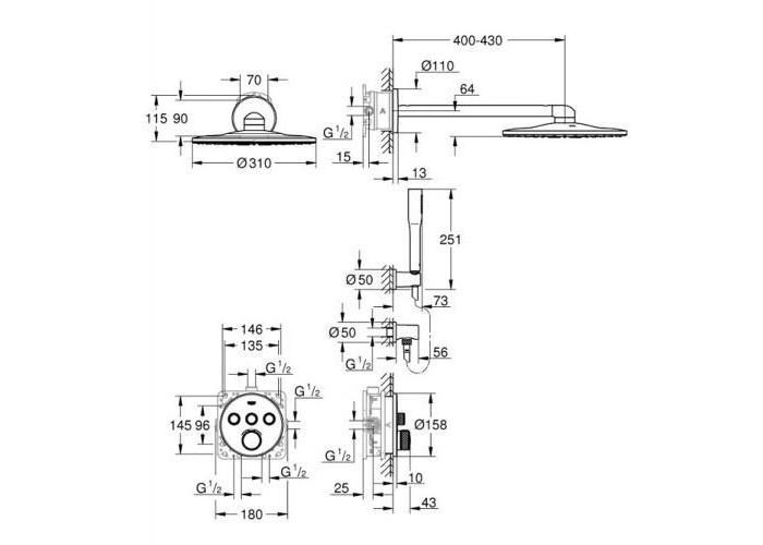 Grohe Grohtherm SmartControl душевая система Rainshower 310 SmartActive (34705000)