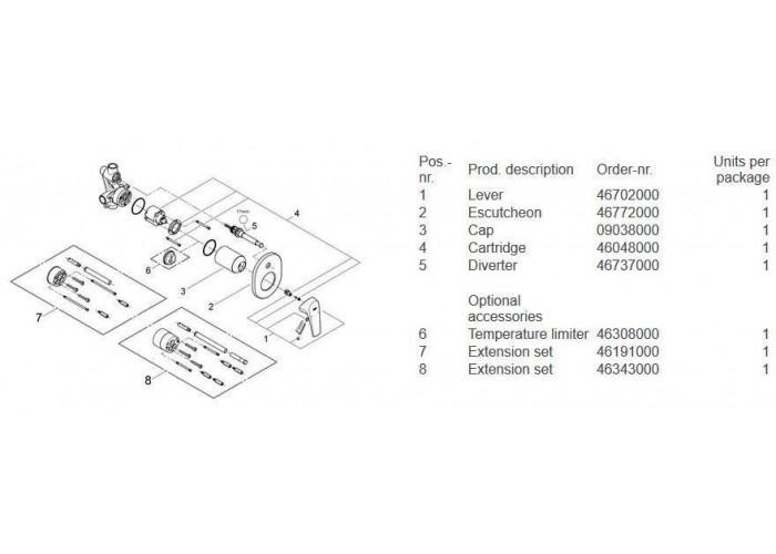 Grohe BauFlow Набор для комплектации душа с New Tempesta Cosmopolitan 200 (2904500A)