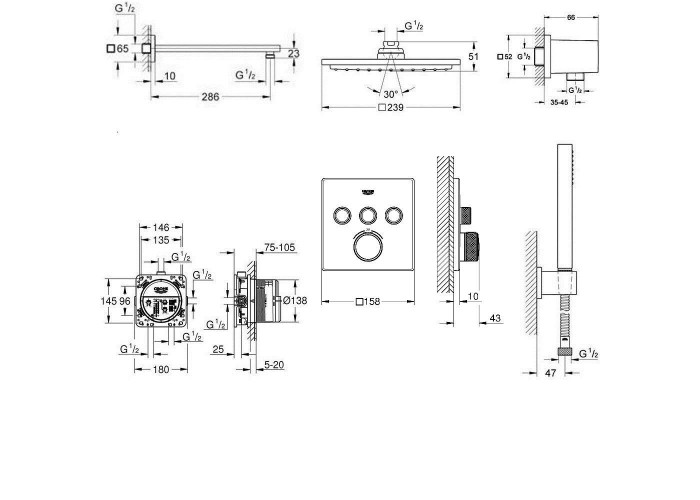 Grohe Grohtherm SmartControl Душевой комплект с Rainshower Allure 230 (34506SC2)