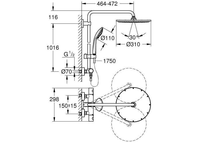 Grohe Euphoria System 310 Душевая система с термостатом для настенного монтажа (26075000)