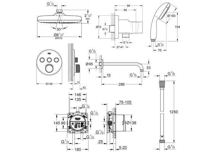 Grohe Grohtherm SmartControl Непревзойденный душевой комплект с Rainshower New Tempesta 210 (34614SC2)