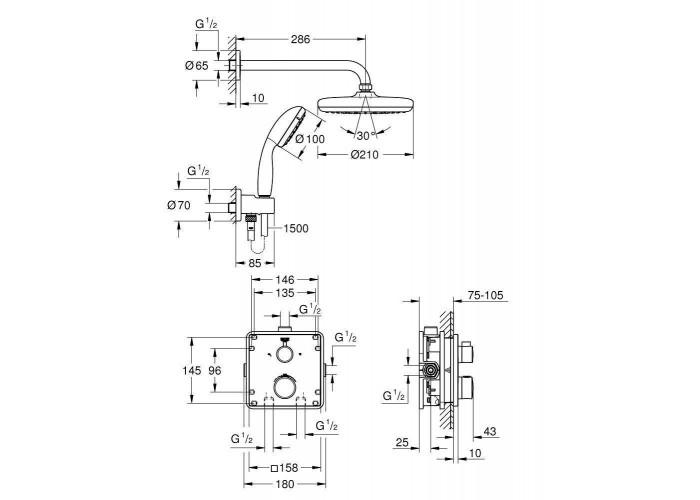 Grohe Grohtherm Душевой комплект с системой Tempesta 210 (34729000)