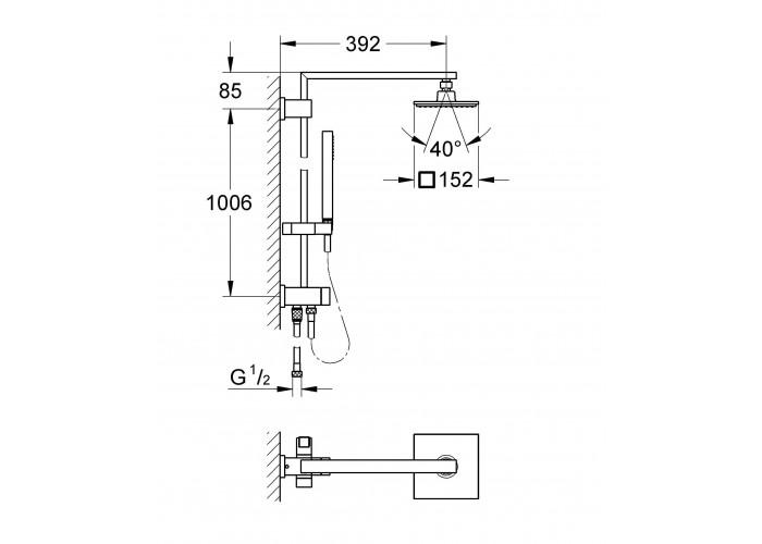 Grohe Euphoria Cube System 150 Душевая система с переключателем для настенного монтажа (27696000)