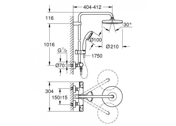 Grohe BauClassic 210 Душевая система с термостатом для настенного монтажа (26699000)