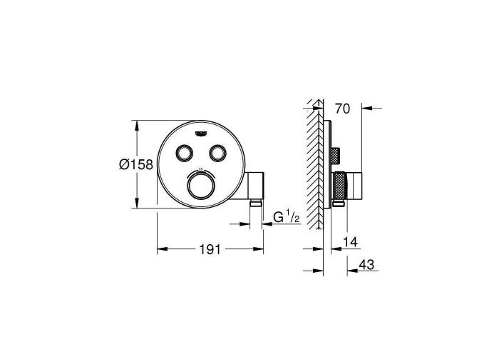 Grohe Grohtherm SmartControl набор для комплектации душа с Tempesta 210 (29120SCN)