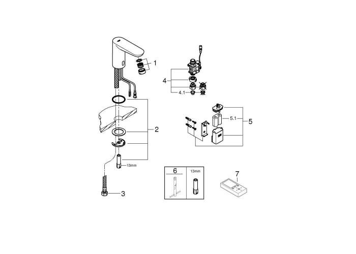 Grohe Euroeco Cosmopolitan E Инфракрасная электроника для раковины без смешивания (36271000)