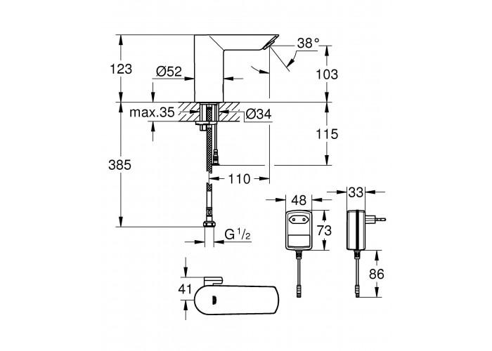 Grohe Bau Cosmopolitan E Инфракрасная электроника для раковины со смешиванием воды (36453000)