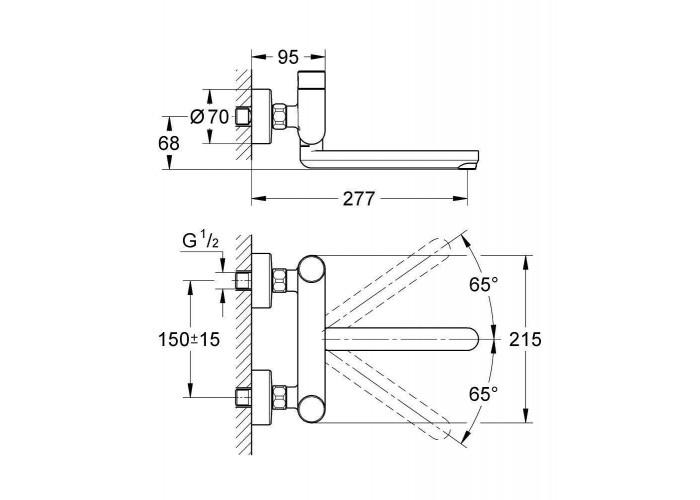 Grohe Eurosmart Cosmopolitan T Смеситель для раковины нажимной, со смешиванием (36319000)