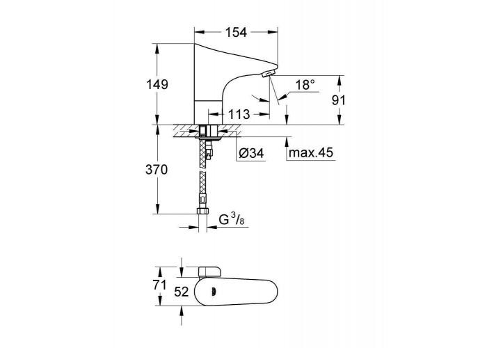 Grohe Europlus E 6V Инфракрасная электроника со смешиванием и ограничителем температуры (36207001)