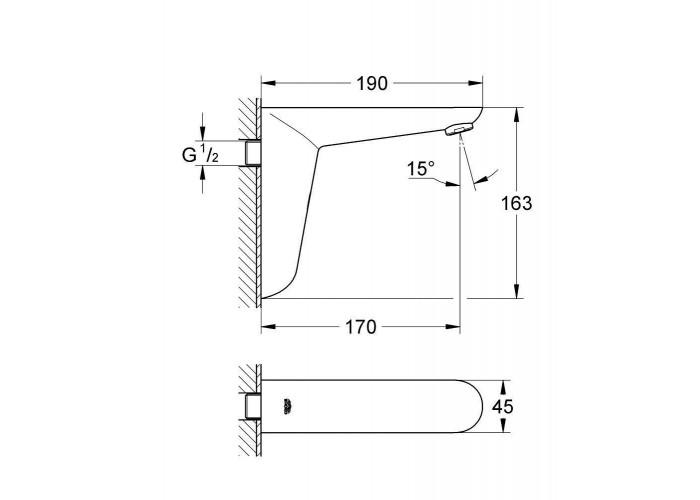 Grohe Euroeco Cosmopolitan E Инфракрасная электроника для раковины без смешивания (36274000)
