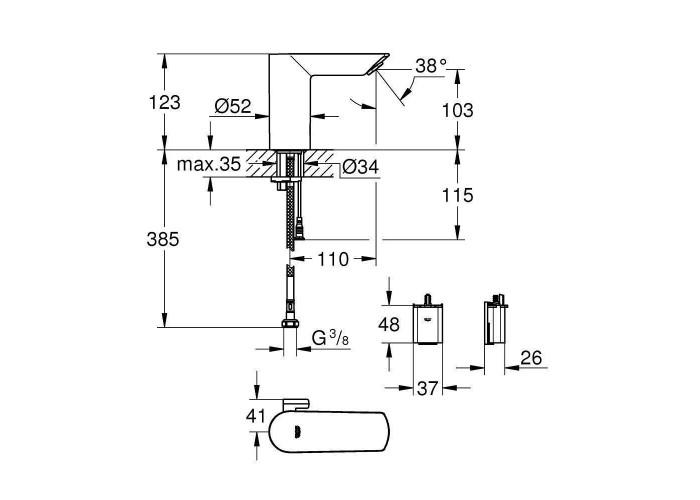 Grohe Bau Cosmopolitan E Инфракрасная электроника для раковины со смешиванием (36451000)
