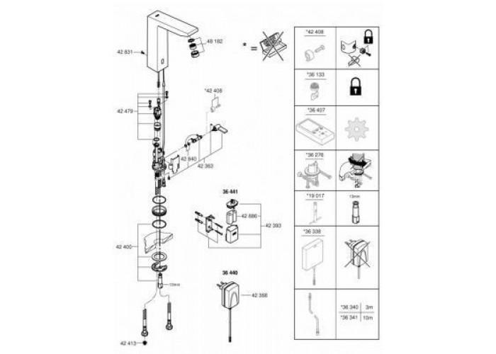 Grohe Eurocube E Инфракрасная электроника для раковины со смесителем (36440000)