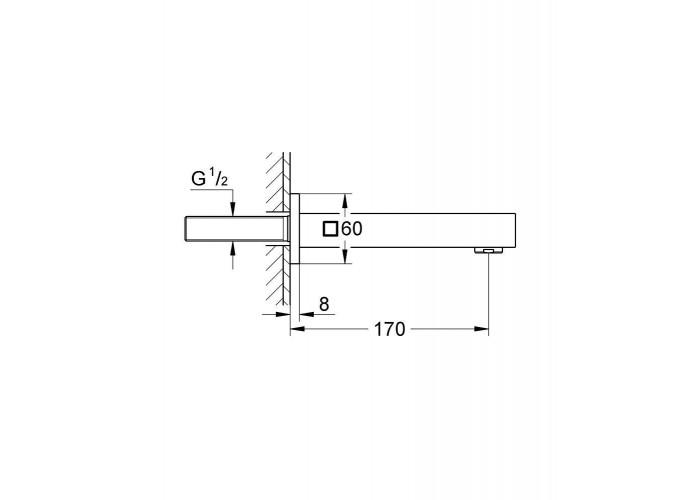 Grohe Eurocube Излив для ванны 170 мм (13303000)